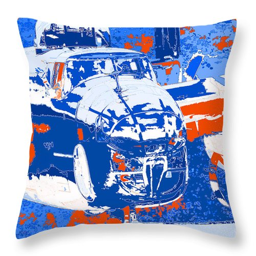 B-25 Blue Red Throw Pillow featuring the digital art B-25 Blue Red by Chris Taggart