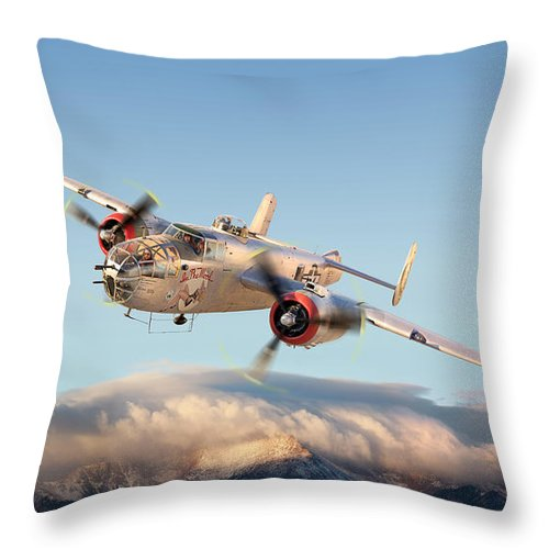 B-25 Mitchell Bomber Art Print Throw Pillow featuring the photograph B-25 Mitchell Bomber by Larry McManus