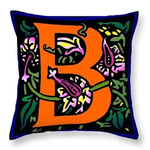 Alphabet Throw Pillow featuring the digital art B In Orange by Kathleen Sepulveda