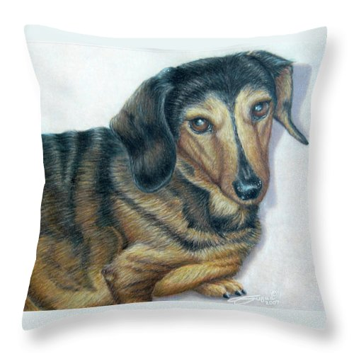 Fuqua - Artwork Throw Pillow featuring the drawing Babe by Beverly Fuqua