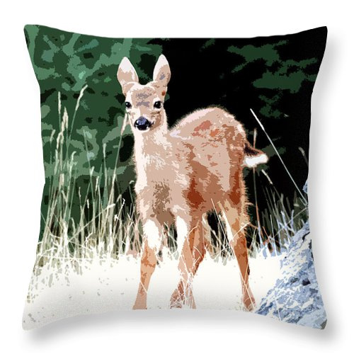 Dear Throw Pillow featuring the painting Babe In The Woods by David Lee Thompson