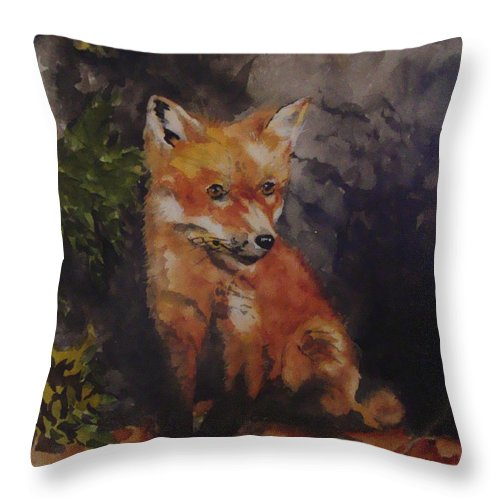 Fox Throw Pillow featuring the painting Babe In The Woods by Jean Blackmer