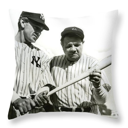 Babe Ruth Throw Pillow featuring the photograph Babe Ruth And Lou Gehrig by Jon Neidert