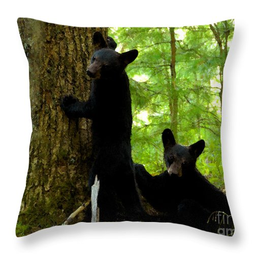 Art Throw Pillow featuring the painting Babes In The Wood by David Lee Thompson