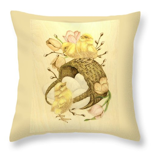 Chicks Throw Pillow featuring the pyrography Baby Chicks by Danette Smith