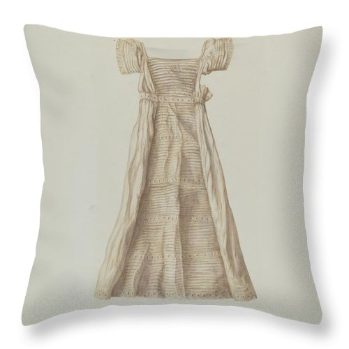 Throw Pillow featuring the drawing Baby Dress by Manuel G. Runyan