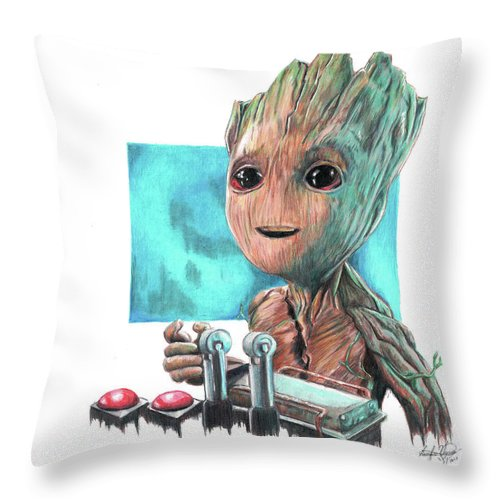 Baby Groot Throw Pillow featuring the drawing Baby Groot by Serafin Ureno