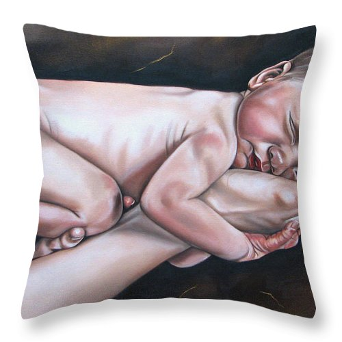 Figure Throw Pillow featuring the painting Baby by Ilse Kleyn