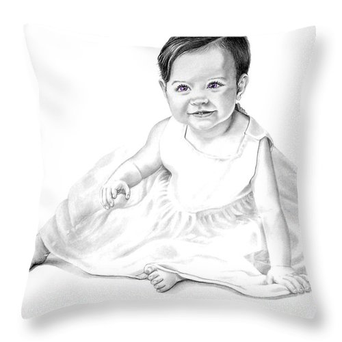 Baby Throw Pillow featuring the drawing Baby Jane by Murphy Elliott