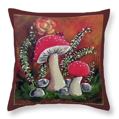 Mushrooms Throw Pillow featuring the painting Baby Mushrooms by Roseann Amaranto