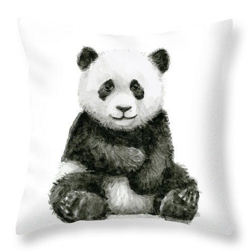 Baby Panda Throw Pillow featuring the painting Baby Panda Watercolor by Olga Shvartsur