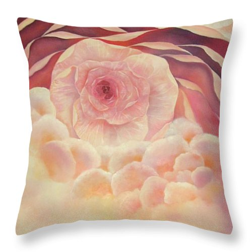 Oil Throw Pillow featuring the painting Baby Rose by Peggy Guichu
