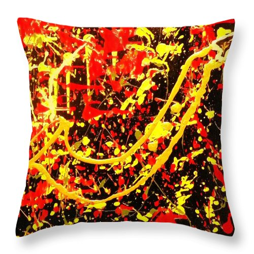 Golden Throw Pillow featuring the painting Baby Sax by James Adger