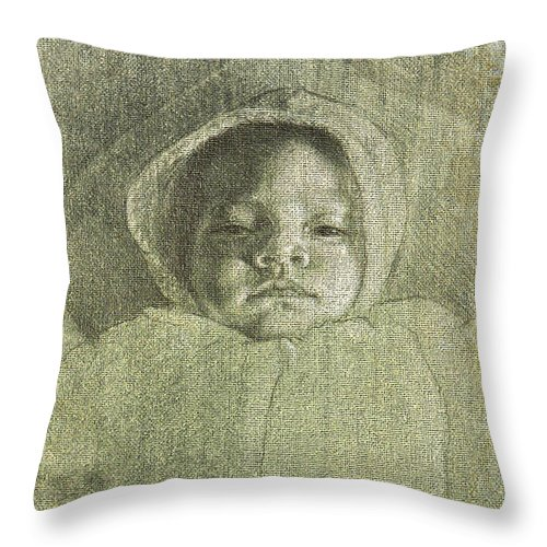 Throw Pillow featuring the painting Baby Self Portrait by Joe Velez