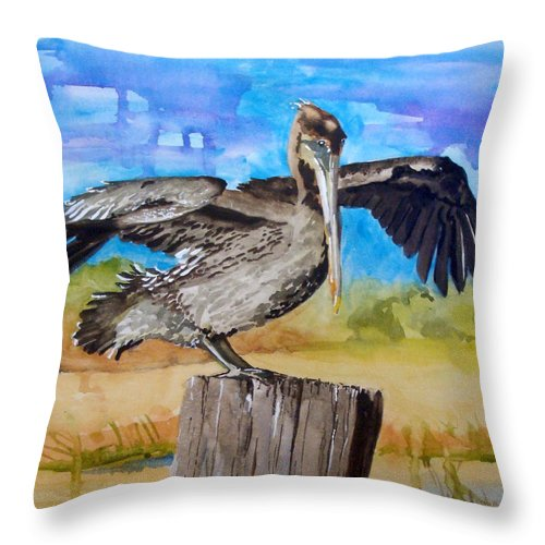 Pelican Throw Pillow featuring the painting Baby Spreads His Wings by Jean Blackmer
