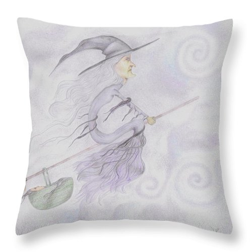 Megan Stone Throw Pillow featuring the drawing Baby Won't Sleep by Megan Stone