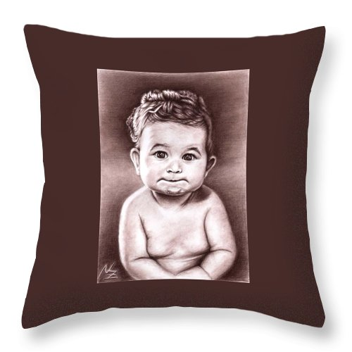 Baby Child Kind Enfant Face Sepia Charcoal Portrait Realism Throw Pillow featuring the drawing Babyface by Nicole Zeug