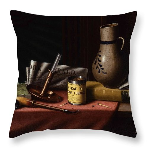 Art Throw Pillow featuring the painting Bachelor S Table By William Michael Harnett by William Michael Harnett