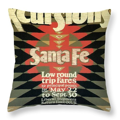 Back East Throw Pillow featuring the mixed media Back East Xcursions - Santa Fe, Mexico - Indian Detour - Retro Travel Poster - Vintage Poster by Studio Grafiikka