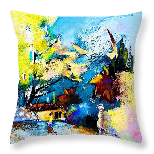 Pastel Painting Throw Pillow featuring the painting Back Home by Miki De Goodaboom