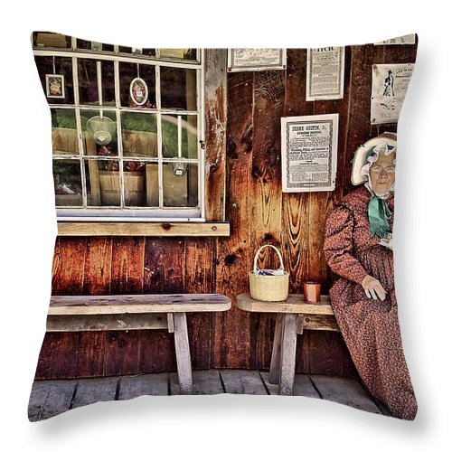 Bench Throw Pillow featuring the photograph Back In The Days by Evelina Kremsdorf