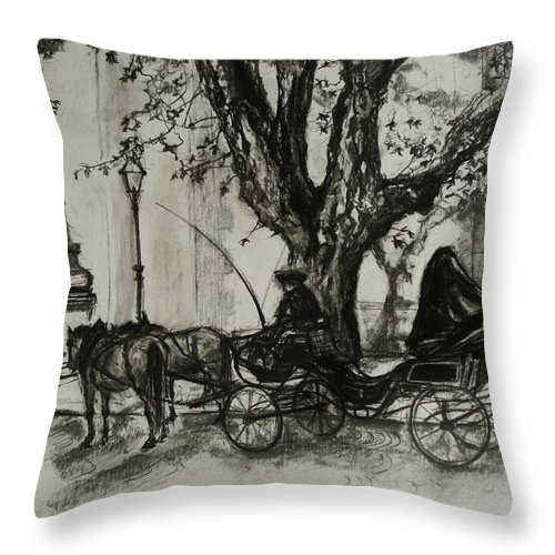 Horse And Carriage Throw Pillow featuring the drawing Back In Time by Veronica Coulston