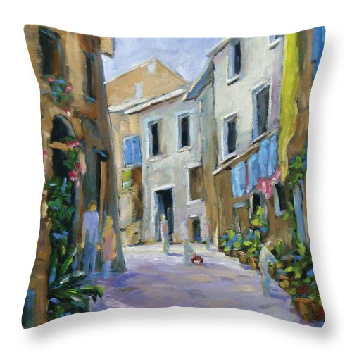 Urban Throw Pillow featuring the painting Back Street by Richard T Pranke
