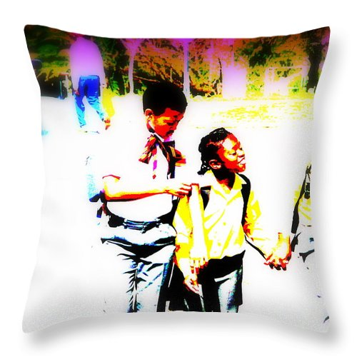 Soweto Throw Pillow featuring the photograph Back To School In Soweto by Funkpix Photo Hunter