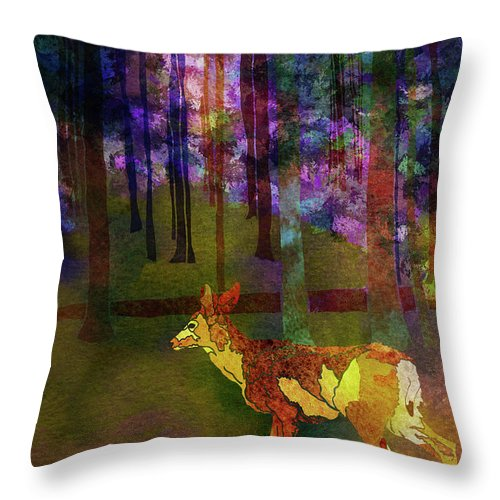 Deer Throw Pillow featuring the digital art Back To The Forest by Jo-Anne Gazo-McKim