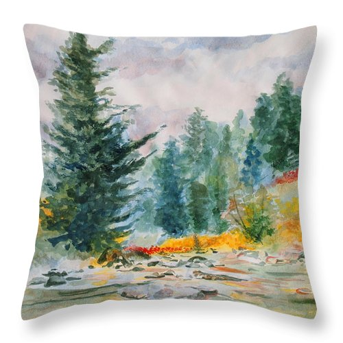 Landscape Throw Pillow featuring the painting Afternoon in the Backcountry by Andrew Gillette