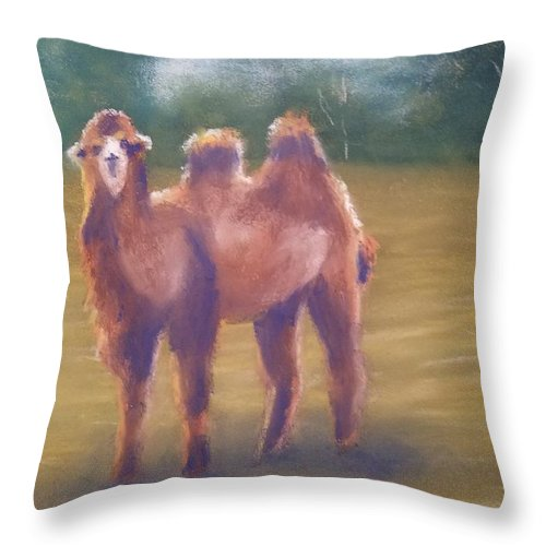 Camel Throw Pillow featuring the painting Backlit Bactrian by Sharon E Allen