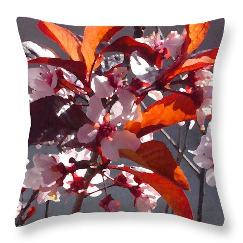 Floral Throw Pillow featuring the painting Backlit Pink Tree Blossoms by Amy Vangsgard
