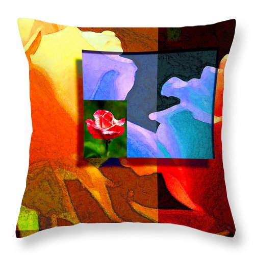 Modern Throw Pillow featuring the digital art Backlit Roses by Stephen Lucas