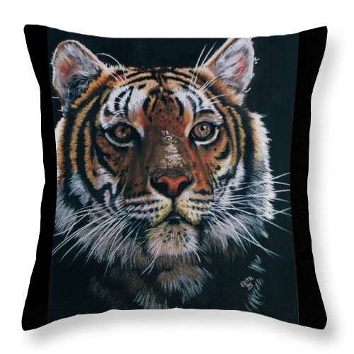Tiger Throw Pillow featuring the drawing Backlit Tiger by Barbara Keith