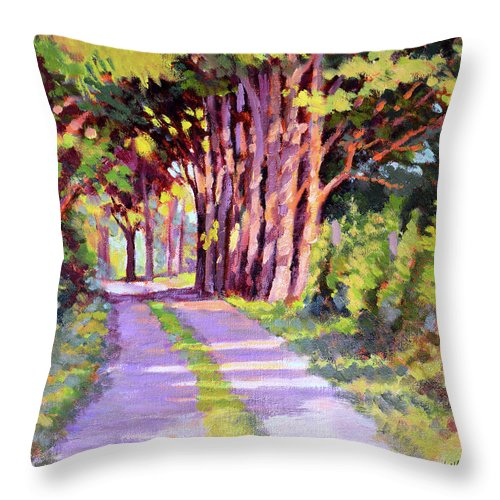 Road Throw Pillow featuring the painting Backroad Canopy by Keith Burgess