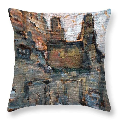 Owen Hunt Throw Pillow featuring the painting Backstreet Arles by Owen Hunt