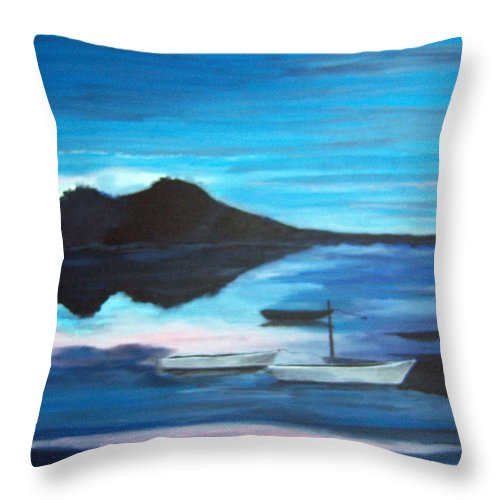 Water Throw Pillow featuring the painting Backwater by Nancy Nuce