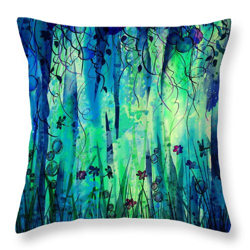 Abstract Throw Pillow featuring the digital art Backyard Dreamer by William Russell Nowicki