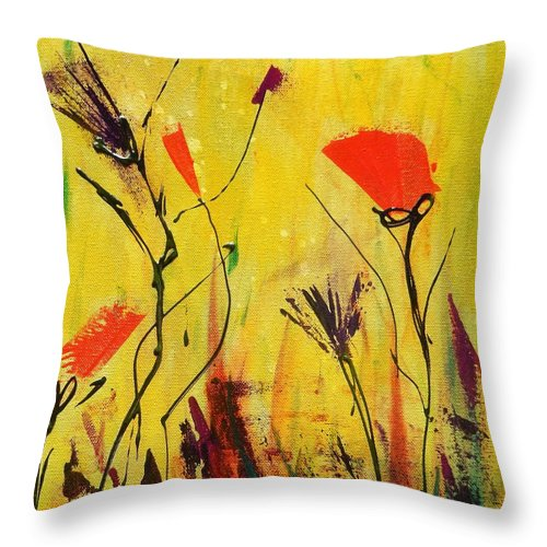 Floral Throw Pillow featuring the painting Backyard Flowers 2 by J Price Garner