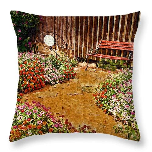 Pink Flower Throw Pillow featuring the digital art Backyard Garden by Paul Bartoszek
