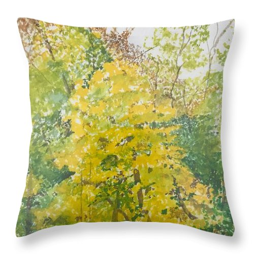 Autumn Throw Pillow featuring the painting Backyard by Leah Tomaino