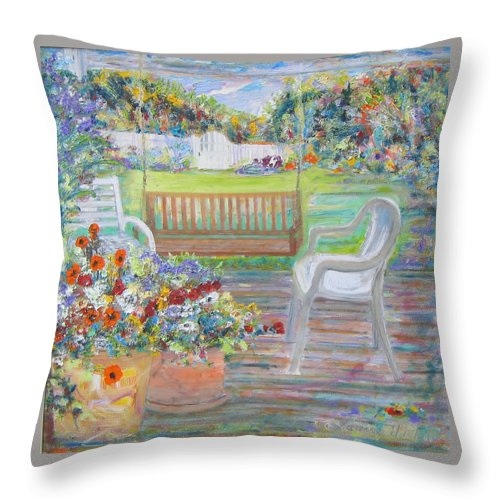 Floral Porch Swing Backyard Gate Colors Oil Paint Texture Throw Pillow featuring the painting Backyard Porch by Laurie Hill Phelps