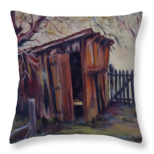 Shed Throw Pillow featuring the painting Backyard Shed by Charme Curtin