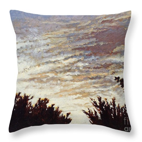 Landscape Throw Pillow featuring the painting Backyard Sunset by Todd Blanchard