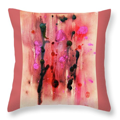 Original: Abstraction Throw Pillow featuring the painting Bacteriophages by Roberto Prusso