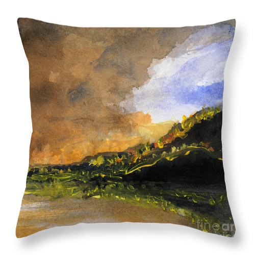 Afternoon Throw Pillow featuring the painting Bad Night Coming Cross The Bay by Randy Sprout