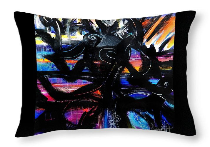 Original Painting On Canvas .abstract Throw Pillow featuring the painting Badass Black by Priscilla Batzell Expressionist Art Studio Gallery