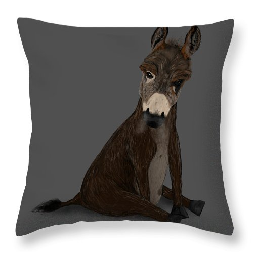 Donkey Throw Pillow featuring the painting Badass Donkey by Dan Pearce