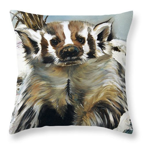 Southwest Art Throw Pillow featuring the painting Badger - Guardian Of The South by J W Baker