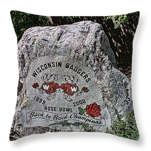 Camp Randall Throw Pillow featuring the photograph Badgers Rose Bowl Win 2000 by Tommy Anderson